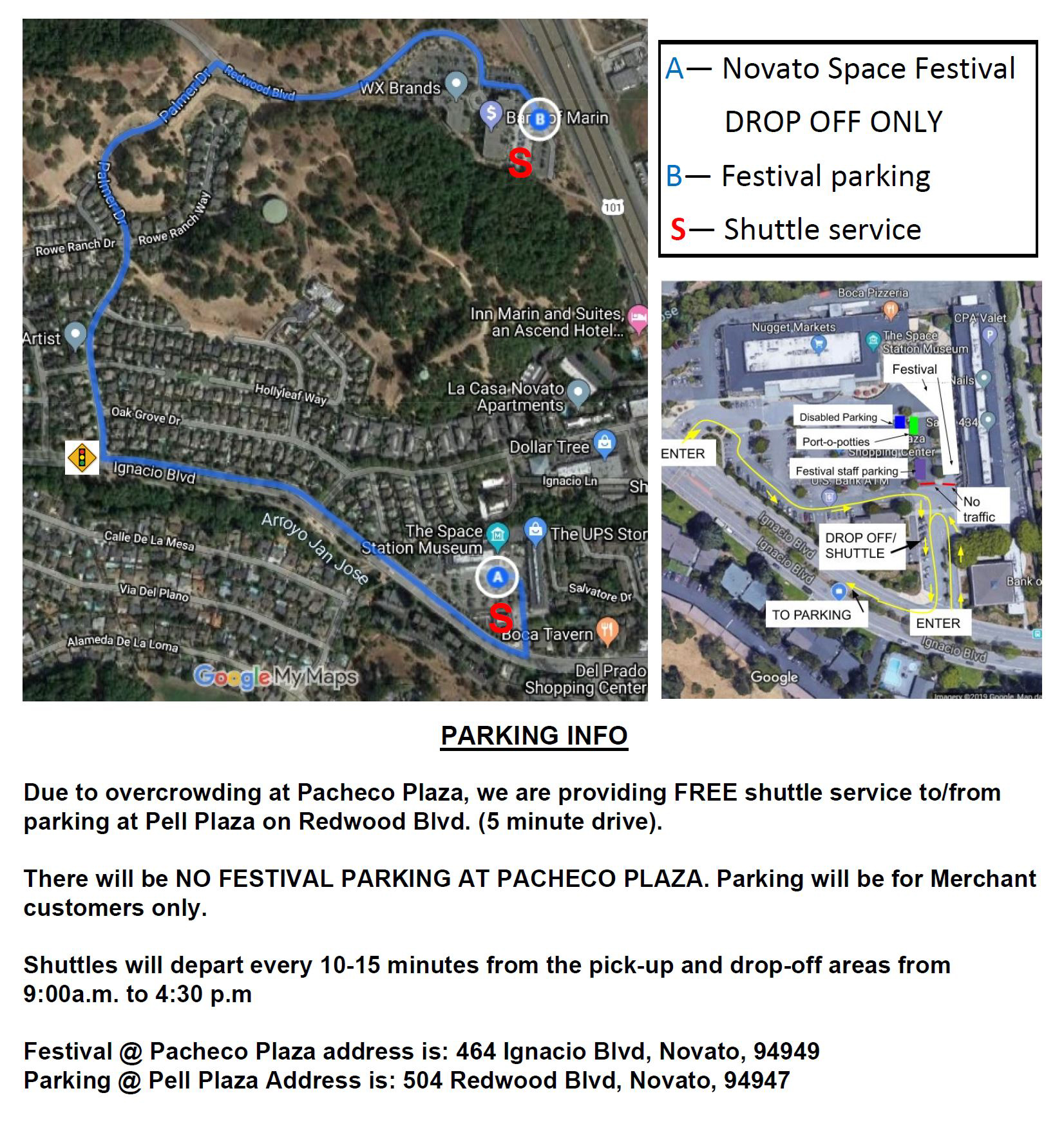 Parking Map for the Novato Space Festival